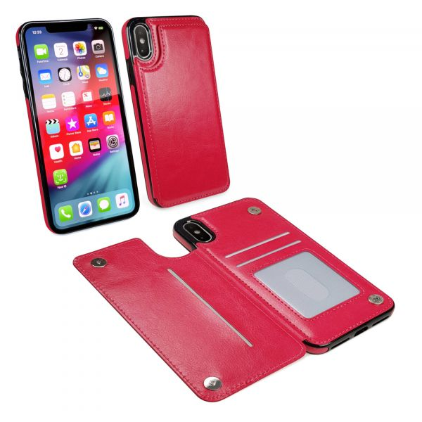 red iphone xr case wallet