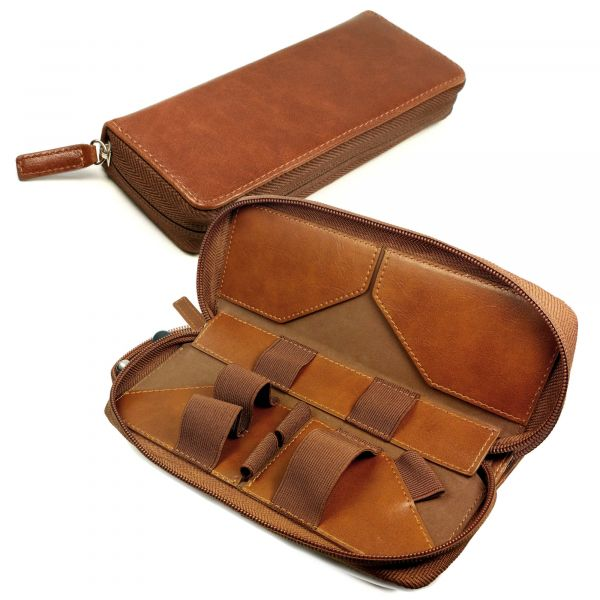 Personalised Vintage Faux Leather Luxury Travel Case & Refill Holder for  E-Cig Box Mod Vape Pen - Brown