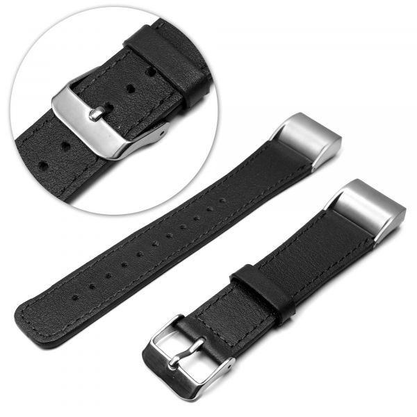 Replacement Adjustable Genuine Leather strap Bracelet Wrist Band For FitBit  Charge 2 - Black [ONE SIZE]