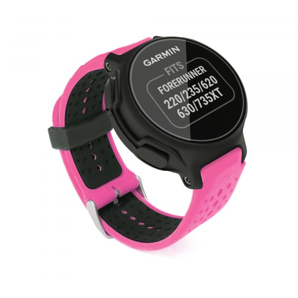 Garmin Forerunner 220 / 235 / 620/630/ 645M /735XT Replacement Silicone  strap Bracelet Wrist Band [One Size] + tool - Pink