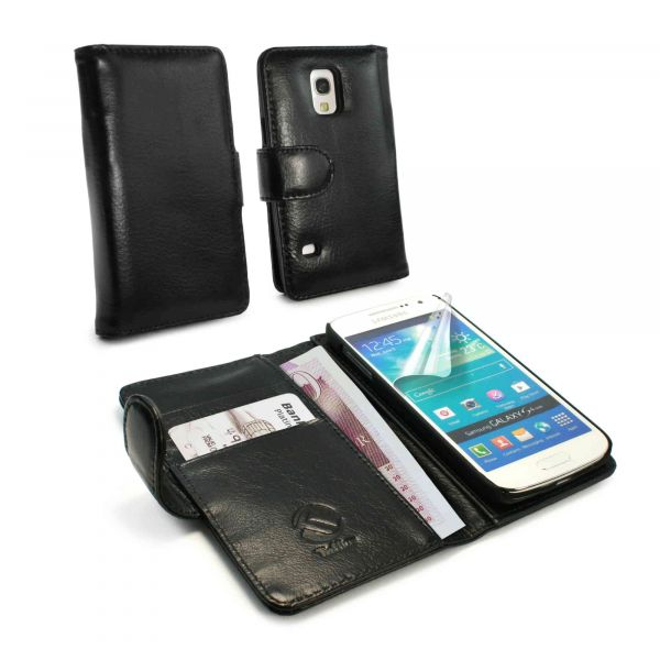 cheap for discount 57fe4 74fd5 Vintage Genuine Leather Folio Wallet Case Cover for Galaxy S5 Mini - Black