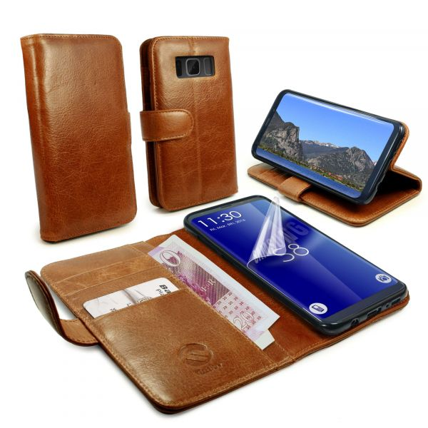 brand new b474c 4725d Personalised Vintage Genuine Leather Folio Wallet Case Cover & Stand for  Galaxy S8 Plus - Brown